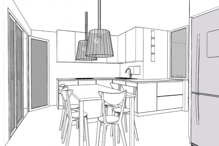 cuisine ouverte sur séjour plan en céramique ilot central